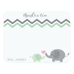 Elephant Baby Shower Thank You Green Gray Chevron