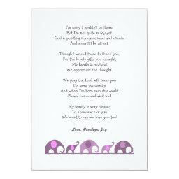 Elephant baby shower thank you notes / purple pink