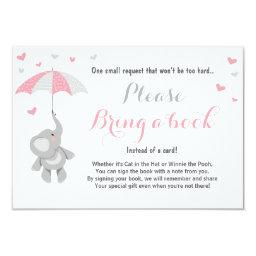 Elephant Bring a Book  Pink Girl Baby Shower