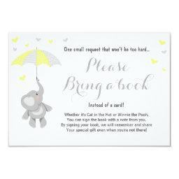 Elephant Bring a Book  Yellow Baby Shower