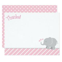 Elephant Thank You Note  | Pink and Gray