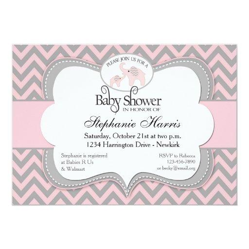 Elephants Baby Shower in Chevron Pink Invitations