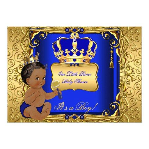 baby shower ethnic baby shower boy royal blue gold card