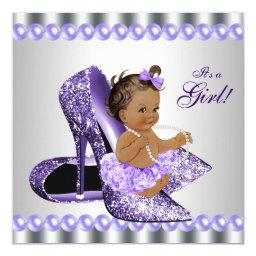 Ethnic Girl Purple Gray High Heel Shoe Baby Shower