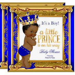 Ethnic Prince Baby Shower Blue Faux Gold