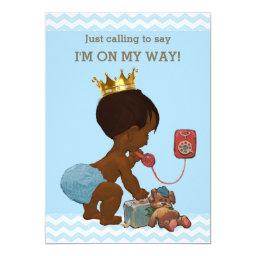 Ethnic Prince on Phone Baby Shower Chevrons Blue