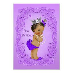 Ethnic Princess Baby Shower Save The Date Purple