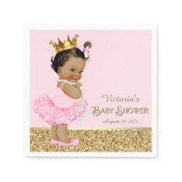 Ethnic Princess Ballerina Pink Gold Baby Shower Paper Napkin