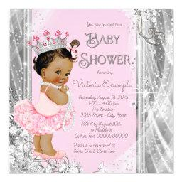 Ethnic Princess Tutu Pink Silver Baby Shower