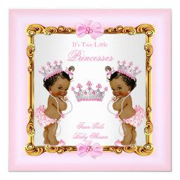 Ethnic Twin Girls Princess Baby Shower Gold Pink
