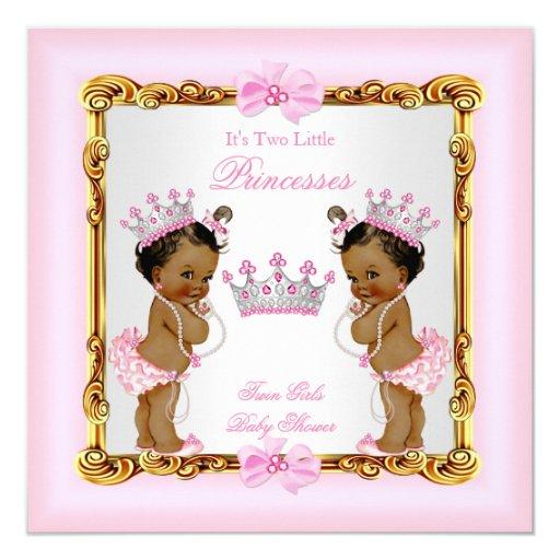 Ethnic Twin Girls Princess  Gold Pink