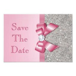 Fake Pink Bow Diamonds Save The Date