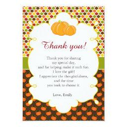 Fall Autumn Pumpkin Thank You  Note