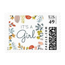 Fall Botanical Baby Shower Postage