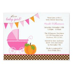 Fall Pumpkin Pink Orange Banner Girl