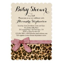 Fancy Leopard Pink Bow Girl Baby Shower