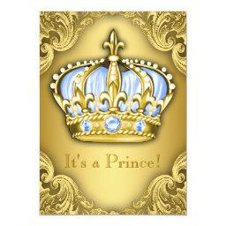 Fancy Prince Baby Shower Baby Blue Gold
