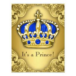 Fancy Prince Baby Shower Blue and Gold