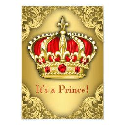 Fancy Prince Baby Shower Red and Gold
