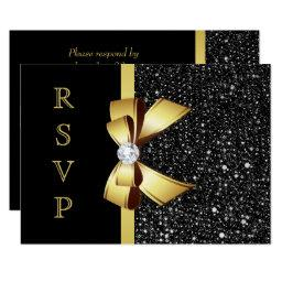 Faux Black Sequins Gold Bow RSVP
