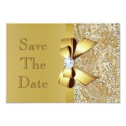 Faux Gold Bow Diamonds Save The Date