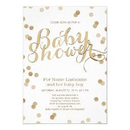 Faux Gold Confetti Modern Baby Shower