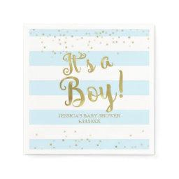 Faux Gold Foil, Blue Stripes Baby Shower Its a Boy Napkin