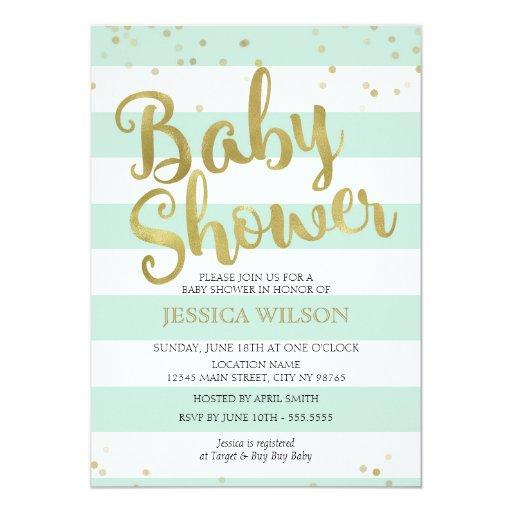 baby shower faux gold foil mint green stripes baby shower card