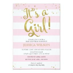 Faux Gold Foil Pink Stripes  Its a Girl