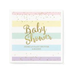 Faux Gold Foil Rainbow Stripes Baby Shower Paper Napkin