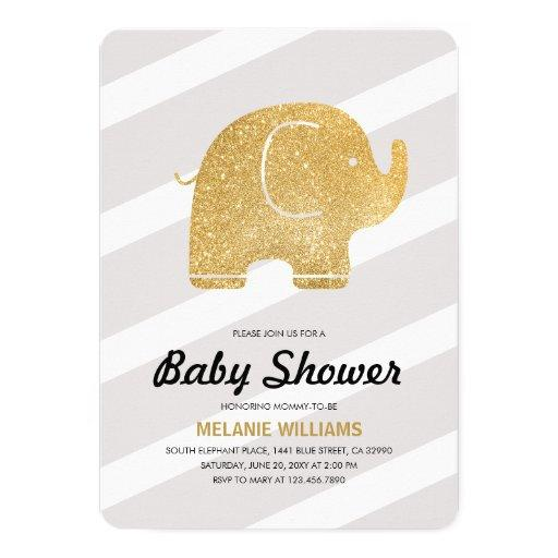 Faux Gold Glitter Elephant Grey  Invite