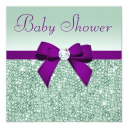 Faux Mint Sequins Purple Bow