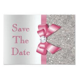 Faux Pink Bow Diamonds Save The Date