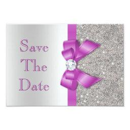 Faux Purple Bow Diamonds Save The Date