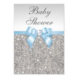 Faux Silver Sequins Baby Blue Baby Shower