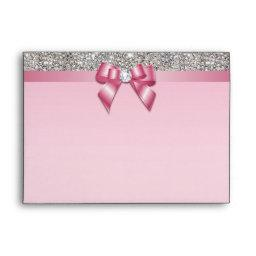 Faux Silver Sequins Diamonds Pinkl Bow Envelope