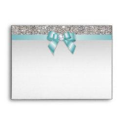 Faux Silver Sequins Diamonds Teal Bow Envelope