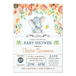 Floral Elephant Baby Shower Autumn Fall