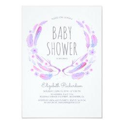Floral Feather Antlers Woodland Boho Baby Shower