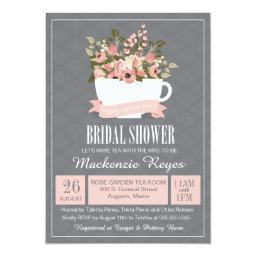 Floral Teacup Baby Shower Invitation, Tea Party