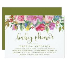 Floral Watercolor & Baby Shower Script on Green