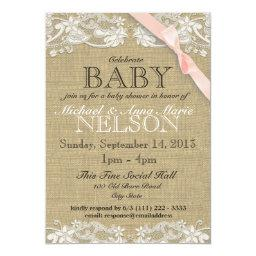 Floral White Lace and Bow Baby Shower Blush Pink