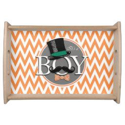 Funny Boy Baby Shower; Orange and White Chevron Serving Tray