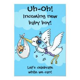 Funny stork and screaming baby shower