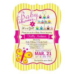 Fuschia Pink and Yellow Butterfly Girl Baby Shower