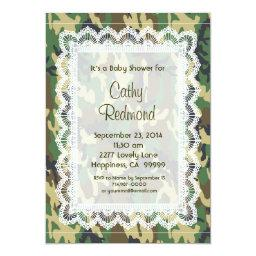 GENDER NEUTRAL Green Camo Lace Baby Shower V11