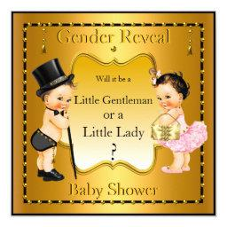 Gender Reveal  Boy Girl Gold Brunette