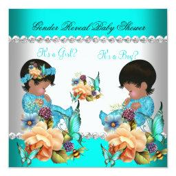 Gender Reveal Baby Shower Teal Blue Flowers