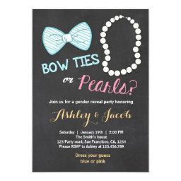 Gender reveal Invitations Baby shower Bowtie pearls