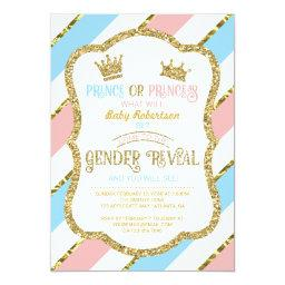 Gender Reveal Invitation, Prince and Princess Invitations